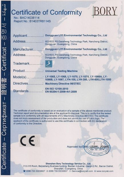 Chine Dongguan Liyi Environmental Technology Co., Ltd. Certifications